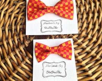 Dog Bow Tie ~ Checkered Dog Bow Tie ~ Unique, Fun, and Affordable ~ Bow Tie for Dogs ~ Large or Small Dog Bow Tie ~ Red and Orange Bow Tie