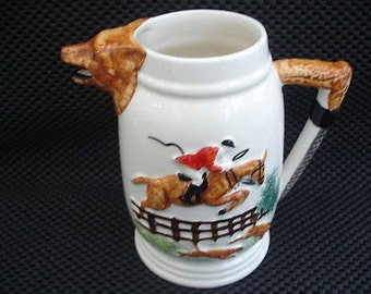 VINTAGE NOVELTY HUNTING Scene Water Jug - Huntsman with Hounds - Fox Head Spout - Hunting Whip Handle - Portland Potteries