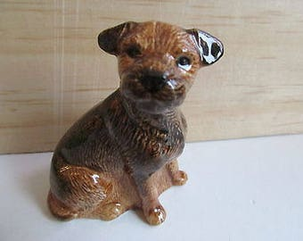 Border Terrier Dog Figure by Quail Pottery - Mint Condition
