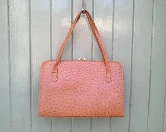 Vintage Ostrich Leather Kelly Handbag - Ackerman of London - 1950's