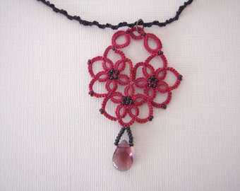 Tatted Lace Pendant Necklace Handmade Valentine's Gift