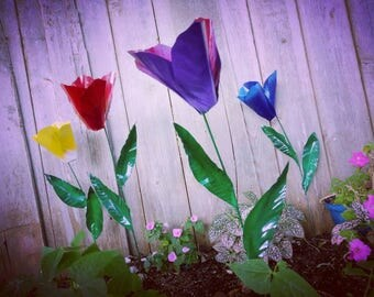 Metal Flower Garden Stake,  Tulip Flower Garden Art,  Metal Garden Decor,  Yard Decoration