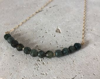 Moss agate necklace, long necklace, layering necklace
