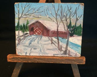 Miniature painting on easel Dollhouse size winter landscape covered bridge