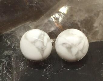 Howlite Stud Earrings -  Sterling Silver & Howlite Earrings - Healing Gemstones -  8mm Stud Earrings