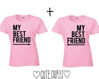 My best friend couple shirts - couple top, couple, matching, friends, girls, couple clothing, gift, birthday gift, best FriendsPink, Rosa, shirt, T