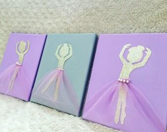 Gold Purple and Grey Nursery Decor, Ballerina Theme