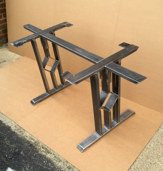 Coffee Table 3 Layers Black Square Metal Legs: Design Dining Table Base Three Bars With Middle Square