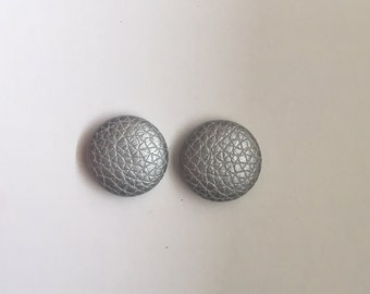 20mm Fabric Studs • Silver Shimmer • Leatherette • Surgical Steel • Button studs • Button earrings • Fabric Earrings