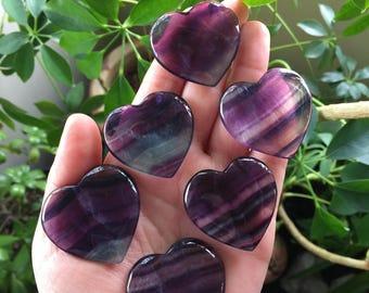 High quality vibrant Rainbow Fluorite heart