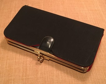 Vintage Black Clutch, Stylemark by Mutterperl Vintage Purse with Jacket, Black Fabric Clutch, Black Evening Bag