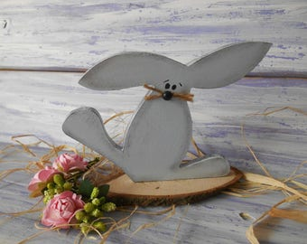 Wooden rustic bunny Easter wood sign Standing rabbit Country style Charming decor Holiday party decor Shelf sitter primitive rabbit Nursery