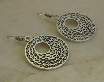 Silver Plated earrings | Dangle and Drop earring | Round Brass earring | Everyday jewelry | Tribal earring | Boho Gypsy gift earring | E67