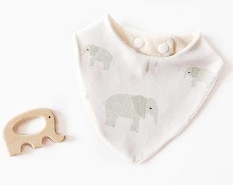 Bib bandana 100% cotton organic mint green elephants
