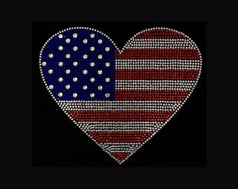 "Patriotic, American Flag Heart  (8x9.25"") Rhinestone Bling T-Shirt"