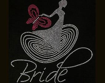 Wedding, Bride Dress (9.75x9.5) Rhinestone Bling T-Shirt