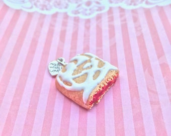 Miniature fake food/ toaster strudle charm, toaster strudle necklace polymer clay/ food jewelry