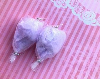 Purple cotton candy earrings