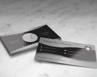 Elegant business card black and silver