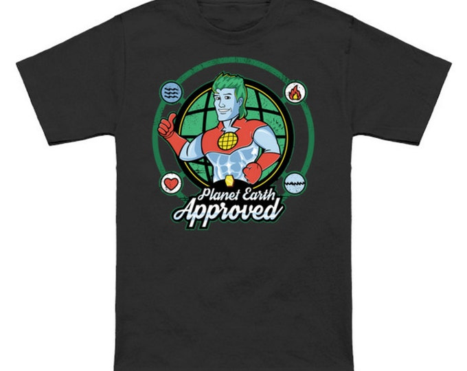 SAVE THE EARTH Geek T-Shirt Anime Nerd Captain Planet 80s Cartoon Planeteers
