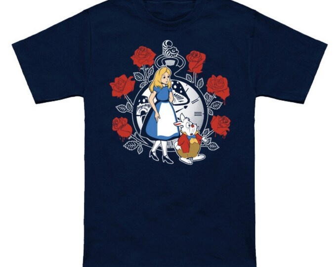 TIME FOR WONDERLAND Alice White Rabbit Cheshire Cat Queen of Hearts Through the Looking Glass Disney Cartoon Geek T-Shirt Anime Nerd Shirt