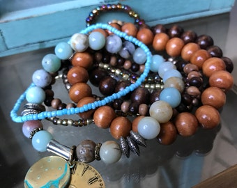 Moontime • Beaded stretch bracelet set • 9 piece set •
