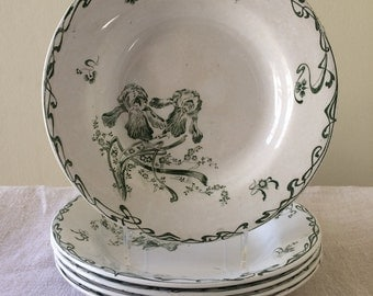 Antique porcelain shallow bowls, Creil et Montereau Moscou, Set of 5
