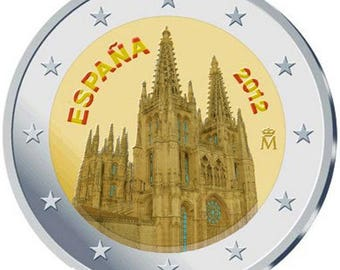 2euro, Colored, Cathedral of Burgos, Spain, 2012