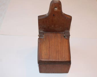 Vintage Solid Wood Salt Box-Hinged Lid