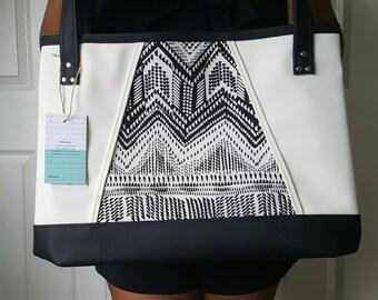 White Black Faux Leather Handbag, Tote Bag, Travel Bag, Diaper Bag, Laptop Bag, Large Handbag, Work Bag, Gift for Her, Gift for Mom