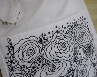 Catch the coloring craze with this hand drawn color yourself cross body bag/purse! All designs are one of a kind and can be customized. Rose