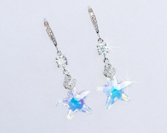 Handmade Swarovski Aurora Borealis AB Crystal Starfish and CZ Dangle Earrings, Destination Wedding, Beach Wedding (Sparkle-2619)