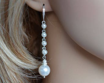 Handmade Pearl and Cubic Zirconia CZ Long Dangle Bridal Earrings, Bridal, Wedding (Pearl-816)