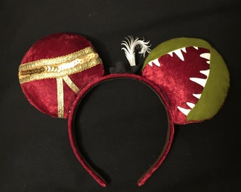 New*** Captain Hook Ears, Custom Captain Hook Mickey Ears, Disney Inspired Minnie Ears