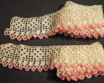Antique Lace Crochet Lace Scalloped 1940s For CRAFTERS Hand Made