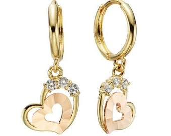 14k Solid Yellow Gold Hoop Earrings Ramid Shining 6551 Charming Heart Design Lovely
