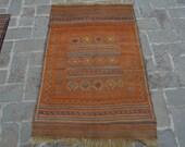 Old Handmade Afghan worn maliki rug