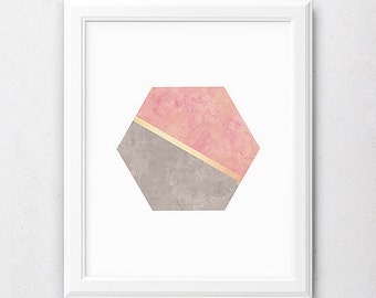 Blush Pink Art, Grey Abstract Print, Pink and Gold, Printable Gold Foil, Modern Decor, Wall Art Office, Geometric Design, Hexagon Poster