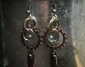 Mixed metal industrial sttle earrings
