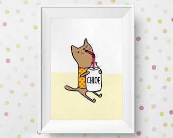 Personalised Kitty Cat Children's Nursery Art Print