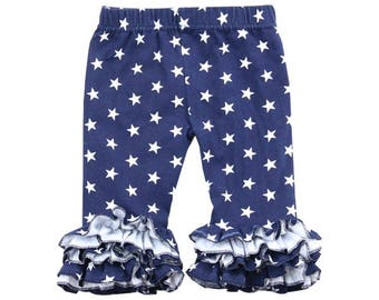 Navy ruffle capri length leggings with white stars