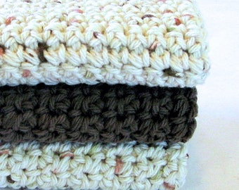 Dish Cloth/Crocheted Cotton Dish Cloth/Wash Cloth/Face Cloth/Baby Wash Cloth/Scrubby/Primitive/Farm House/Brown/Ivory - Set of 3