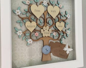 Family tree frame, wooden family tree, personalised family tree, grandchildren, family gift, wedding gift, birthday, family tree wall art