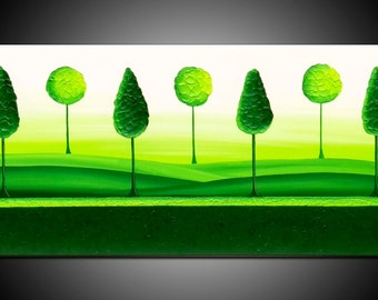 """ORIGINAL TEXTURED PAINTING abstract  40""""  tree, leaves, green, canvas, art deco"""