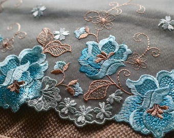 Blue embroidered lace, Lingerie lace, Embroidered lace, Net lace trim, Blue embroidered tulle, Fancy Luxury lace, Blue Lace fabric, Lace