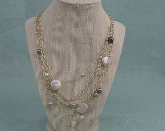 silver pearl, multi-chain, multi-pearl, sterling silver necklace, truly original with a modern twist