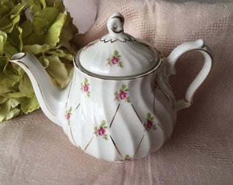 Vintage Sadler Teapot, England Rose Gilded Teapot