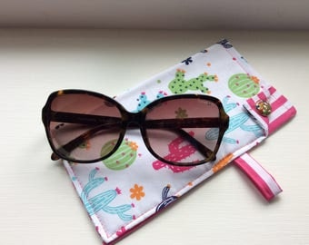 Cactus sunglasses case in colourful cotton, cactus theme sunglasses case, blue, pink, green on white background glasses case.