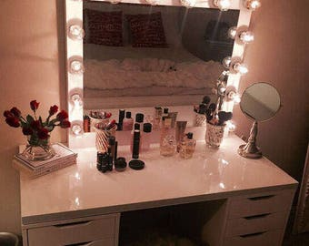 XL vanity mirror with hollywood lighting.Perfect for Ikea vanity(bULBS nOT iNCLUDED)