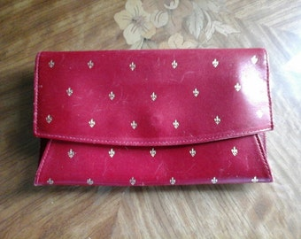WALLET RED ITALIAN Leather Woman wallet Rare Find